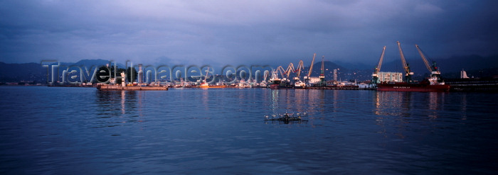 georgia192: Batumi, Ajaria, Georgia: important harbour to Black Sea, end of Baku Oil Pipeline - foggy dusk - Lesser Caucasus mountain range - photo by A.Harries - (c) Travel-Images.com - Stock Photography agency - Image Bank