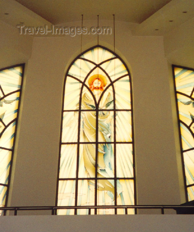 georgia50: Georgia - Batumi: stained glass - Jesus at the Catholic Church of the Holy Spirit - photo by M.Torres - (c) Travel-Images.com - Stock Photography agency - Image Bank