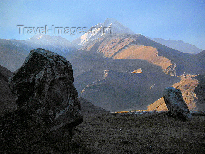 Georgia - Mt Kazbek and stone statues of Georgian poets, on the ...