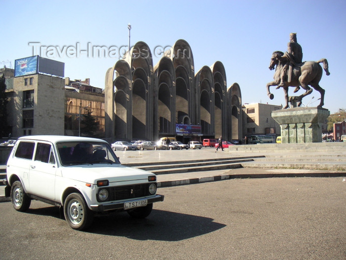 georgia70: Georgia - Tbilisi / Tblissi / TBS: Lada Niva on Celebrations Square - photo by A.Kilroy - (c) Travel-Images.com - Stock Photography agency - Image Bank