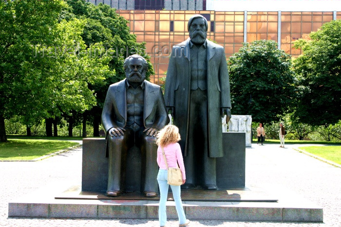 germany115: Berlin, Germany / Deutschland: confronting Marx and Engels - statue by Ludwig Engelhardt - photo by C.Blam - (c) Travel-Images.com - Stock Photography agency - Image Bank