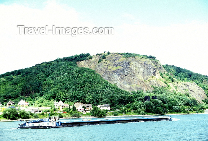 germany137: Germany / Deutschland - Remagen: A barge passes by the remains of the Ludendorff Bridge - photo by R.Eime - (c) Travel-Images.com - Stock Photography agency - Image Bank