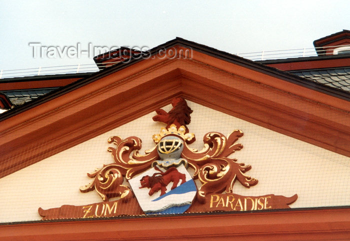 germany15: Germany / Deutschland - Frankfurt am Main: zum paradise - heraldic on a pediment / tympanum - photo by M.Torres - (c) Travel-Images.com - Stock Photography agency - Image Bank