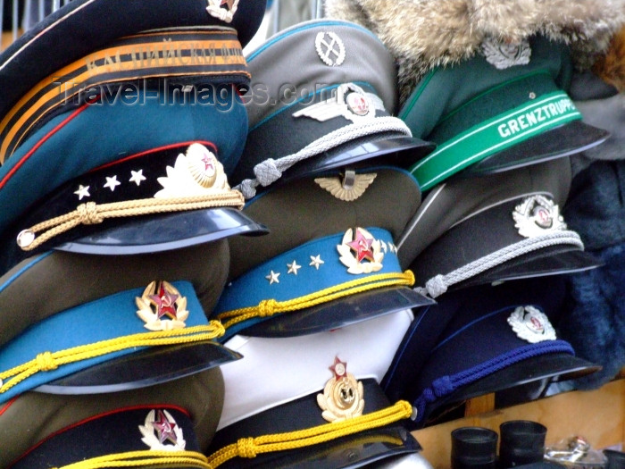 germany231: Berlin, Germany / Deutschland: East-German and Soviet military hats - photo by M.Bergsma - (c) Travel-Images.com - Stock Photography agency - Image Bank
