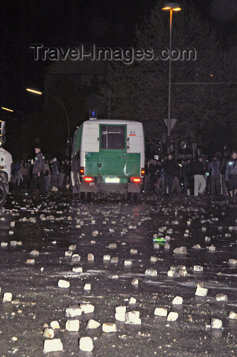 germany284: Germany - Berlin: riots on May 1st - stones thrown at police vehicle - photo by W.Schmidt - (c) Travel-Images.com - Stock Photography agency - Image Bank