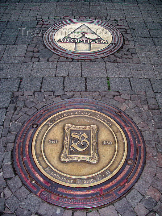 germany298: Bad Kreuznach - Rhineland-Palatinate / Rheinland-Pfalz, Germany / Deutschland: decorative manholes on a granite pavement - photo by Efi Keren - (c) Travel-Images.com - Stock Photography agency - Image Bank