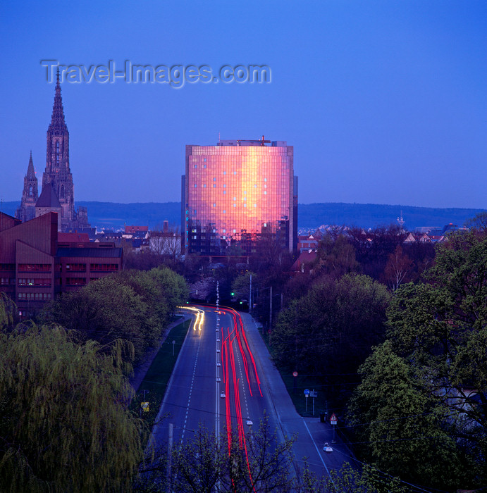 germany334: Germany - Ulm - Baden-Württemberg: Ulm Münster (the Cathedral) and the Maritim Hotel at dusk - photo by W.Allgower - (c) Travel-Images.com - Stock Photography agency - Image Bank