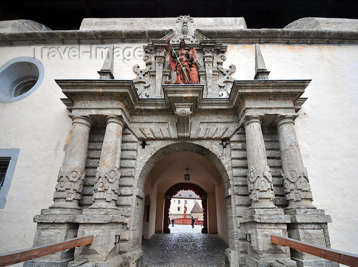 germany344: Würzburg, Lower Franconia, Bavaria, Germany: Marienberg fortress - monumental gate - photo by M.Torres - (c) Travel-Images.com - Stock Photography agency - Image Bank