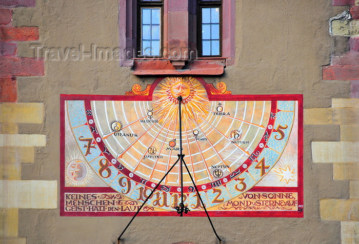 germany350: Würzburg, Lower Franconia, Bavaria, Germany: Grafeneckart - Rathaus - sundial - photo by M.Torres - (c) Travel-Images.com - Stock Photography agency - Image Bank