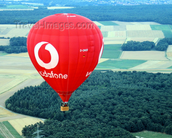germany355: Würzburg Kreis, Lower Franconia, Bavaria, Germany: Vodafone hot air baloon and the landscape of Franconia - from the air - photo by D.Steppuhn - (c) Travel-Images.com - Stock Photography agency - Image Bank
