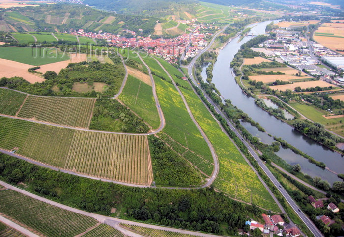 germany357: Würzburg area, Lower Franconia, Bavaria, Germany: Vineyards along the river Main, between Wuerzburg and Randersacker - from the air - photo by D.Steppuhn - (c) Travel-Images.com - Stock Photography agency - Image Bank