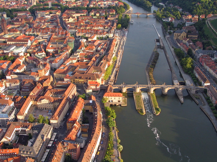 germany363: Würzburg, Lower Franconia, Bavaria, Germany: Main river and the old town - Alte Mainbrücke in the foreground and Löwenbrücke in the background - from the air - photo by D.Steppuhn - (c) Travel-Images.com - Stock Photography agency - Image Bank