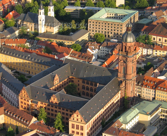 germany364: Würzburg, Lower Franconia, Bavaria, Germany: the Old University and its tower - from the air - photo by D.Steppuhn - (c) Travel-Images.com - Stock Photography agency - Image Bank