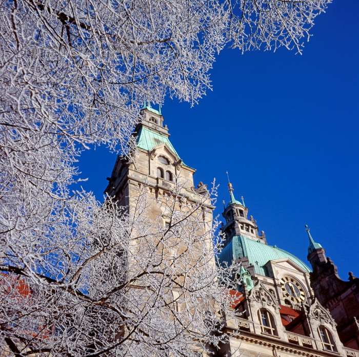 germany376: Hannover, Lower Saxony, Germany: New City Hall / Neues Rathaus tower and clock in winter - eclectic style - photo by A.Harries - (c) Travel-Images.com - Stock Photography agency - Image Bank