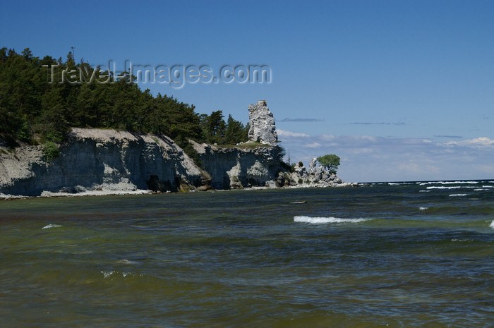 gotland104: Gotland island - Lickershamn: the Jungfruklint - the highest of Gotland's raukar, coastal limestone stacks that are the remnants of sncient reefs - this stack, 11.5m high is said to look like the Virgin and Child - photo by A.Ferrari - (c) Travel-Images.com - Stock Photography agency - Image Bank