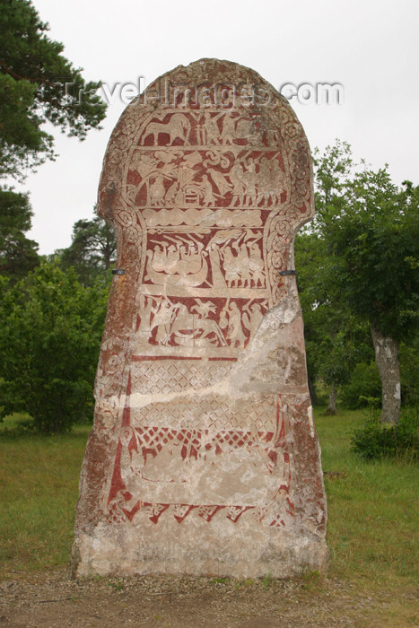gotland42: Sweden - Gotland island / Gotlands län: Viking rune stone - Odin's Saga - photo by C.Schmidt - (c) Travel-Images.com - Stock Photography agency - Image Bank