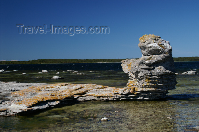 gotland54: Fårö island, Gotland, Sweden - Lauterhorn - Gamle Hamn: 'Raukar' rock formations - limestone column - photo by A.Ferrari - (c) Travel-Images.com - Stock Photography agency - Image Bank