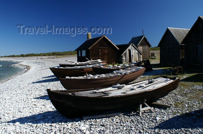 gotland63: Fårö island, Gotland, Sweden: boats on the beach - old fishing village near Digerhuvud  - photo by A.Ferrari - (c) Travel-Images.com - Stock Photography agency - Image Bank