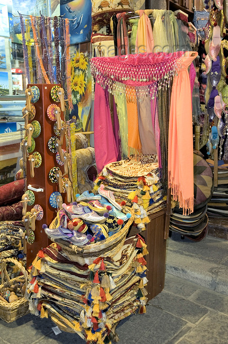 greece325: Greece, Rhodes, Old Town: richly coloured fabric wares on sale in an Old Town shop  (photo by P.Hellander) - (c) Travel-Images.com - Stock Photography agency - Image Bank