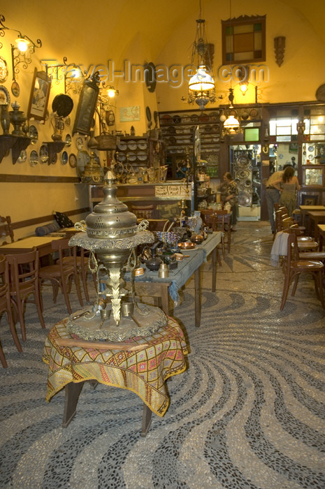 greece326: Greece, Rhodes, Old Town: the interior of an old-style, Turkish era coffee shop in the Old Town - (c) Travel-Images.com - Stock Photography agency - Image Bank