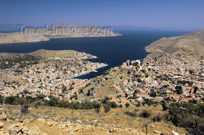 greece342: Greece, Dodecanese Islands, Syme / Simi / Sömbeki: the port of Yialos from a high up viewpoint - photo by P.Hellander - (c) Travel-Images.com - Stock Photography agency - Image Bank