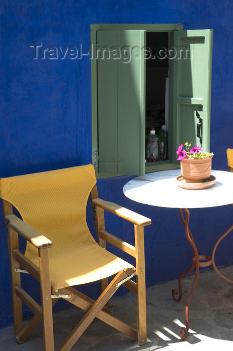 greece352: Greece, Dodecanese Islands, Rhodes: canvas chair against blue-painted wall - (c) Travel-Images.com - Stock Photography agency - Image Bank