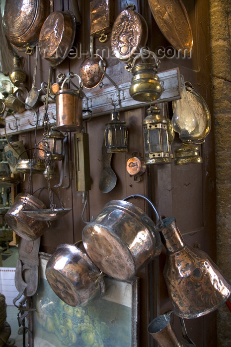 greece354: Greece, Dodecanese Islands, Rhodes: copper pots and pans in brick-a-brack tourist shop in Old Town - (c) Travel-Images.com - Stock Photography agency - Image Bank