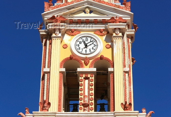 greece437: Greek islands - Dodecanes archipelago - Symi island - Panormitis - Monastery of the Archangel Michael - belltower clock - photo by A.Stepanenko - (c) Travel-Images.com - Stock Photography agency - Image Bank