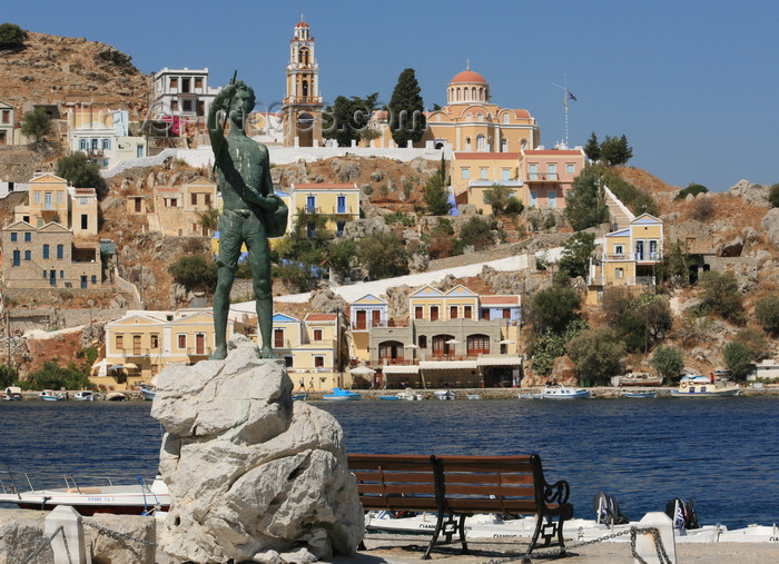 greece446: Greek islands - Dodecanes archipelago - Symi island - Symi town - monument to sponge divers - photo by A.Stepanenko - (c) Travel-Images.com - Stock Photography agency - Image Bank