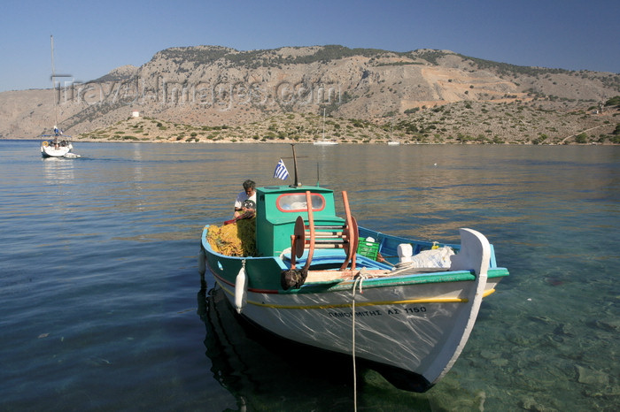 greece449: Greek islands - Dodecanes archipelago - Symi island - Panormitis - small fishing boat - photo by A.Stepanenko - (c) Travel-Images.com - Stock Photography agency - Image Bank