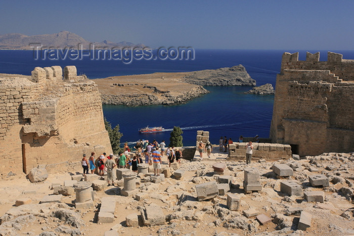 greece454: Greece - Rhodes island - Lindos - Acropolis - Aegean sea view - photo by A.Stepanenko - (c) Travel-Images.com - Stock Photography agency - Image Bank