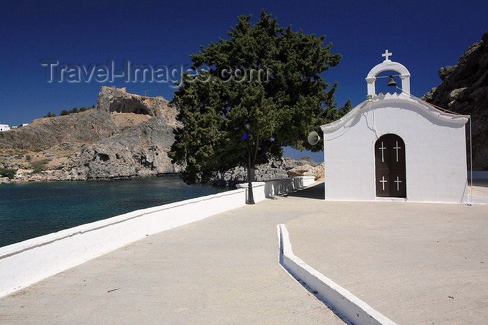 greece457: Greece - Rhodes island - Lindos - St.Paul's bay - St.Paulchapel - photo by A.Stepanenko - (c) Travel-Images.com - Stock Photography agency - Image Bank