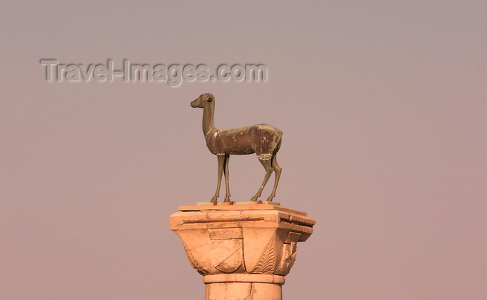 greece459: Greece - Rhodes island - Rhodes city - Mandraki Harbour - column at the entrance - female deer - photo by A.Stepanenko - (c) Travel-Images.com - Stock Photography agency - Image Bank
