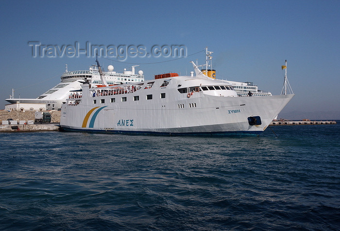 greece461: Greece - Rhodes island - Rhodes city - ferry in the New Harbour - photo by A.Stepanenko - (c) Travel-Images.com - Stock Photography agency - Image Bank