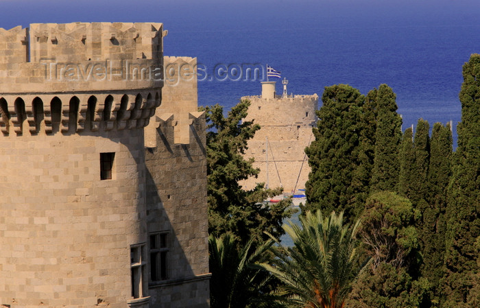 greece464: Greece - Rhodes island - Rhodes city - St George's Tower - view of Grand Masters Palace - walls - photo by A.Stepanenko - (c) Travel-Images.com - Stock Photography agency - Image Bank