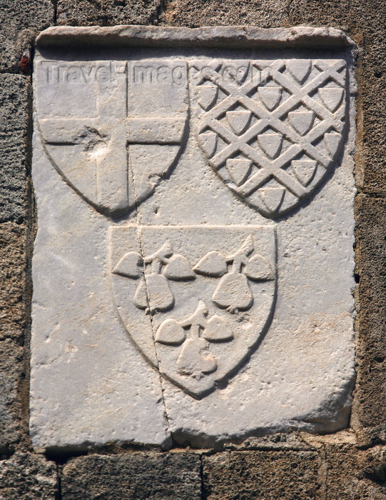 greece468: Greece - Rhodes island - Rhodes city - Street of Knights - triple coat of arms - photo by A.Stepanenko - (c) Travel-Images.com - Stock Photography agency - Image Bank