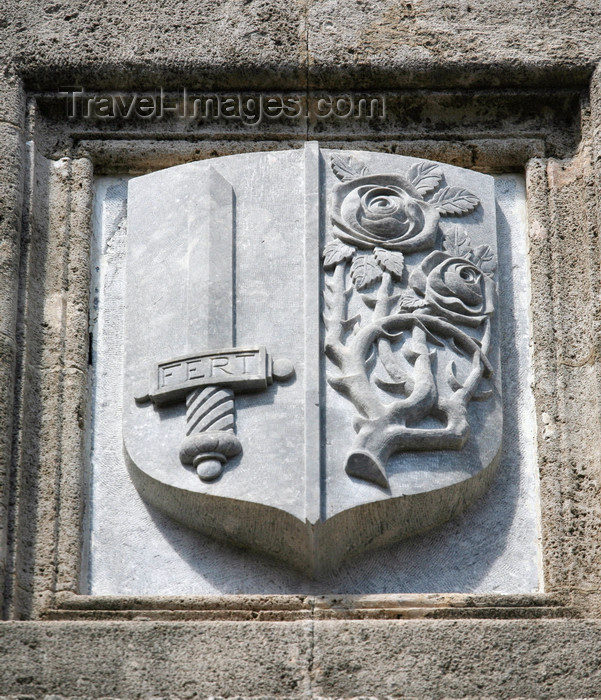greece469: Greece - Rhodes island - Rhodes city - Street of Knights - coat of arms - photo by A.Stepanenko - (c) Travel-Images.com - Stock Photography agency - Image Bank