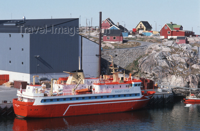 greenland31: Greenland - Ilulissat / Jakobshavn - harbour - transport and supply ship Saqqit Ittuk in the port of Ilulissat / Jakobshavn - shrimp building in the background - photo by W.Allgower - (c) Travel-Images.com - Stock Photography agency - Image Bank