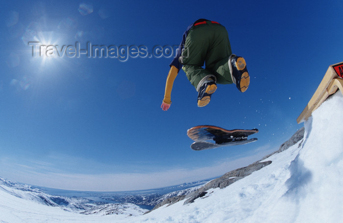greenland77: Greenland, Apussuit: snow skater playing on the glacier - photo by S.Egeberg - (c) Travel-Images.com - Stock Photography agency - Image Bank