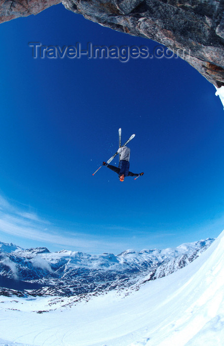 greenland81: Greenland, Apussuit: skier doing a backflip off high ice cliff - photo by S.Egeberg - (c) Travel-Images.com - Stock Photography agency - Image Bank