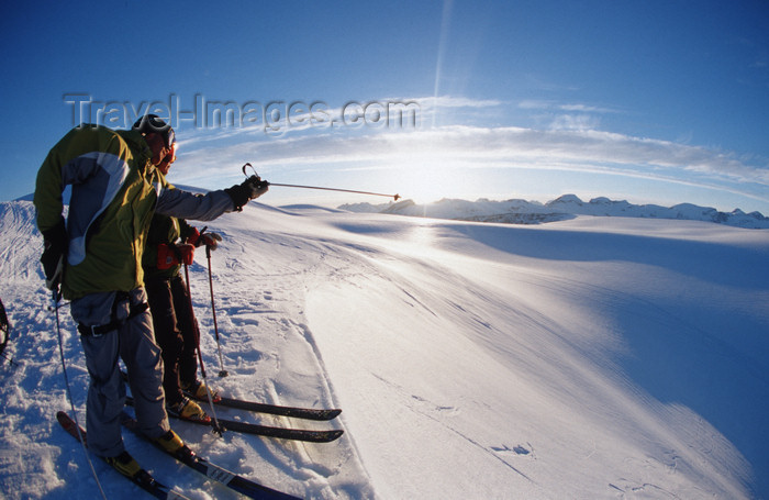 greenland84: Greenland, Apussuit: skiers scouting routes from the summit - photo by S.Egeberg - (c) Travel-Images.com - Stock Photography agency - Image Bank