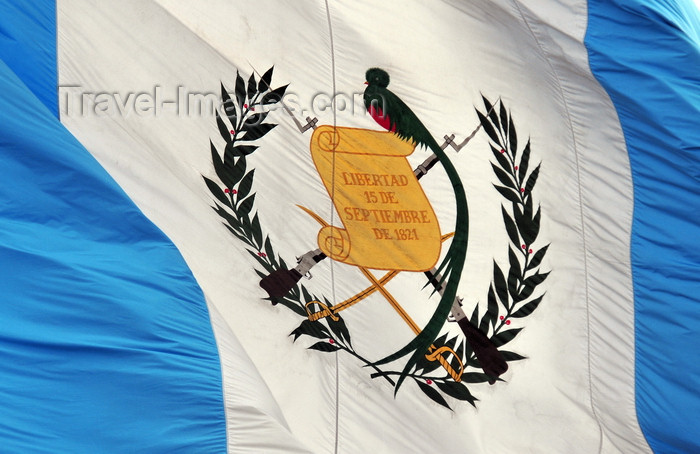 guatemala61: Ciudad de Guatemala / Guatemala city: Guatemalan flag at Parque Central - Resplendent Quetzal, a bird that symbolizes liberty and 15 September 1821, the date of Central America's independence - photo by M.Torres - (c) Travel-Images.com - Stock Photography agency - Image Bank