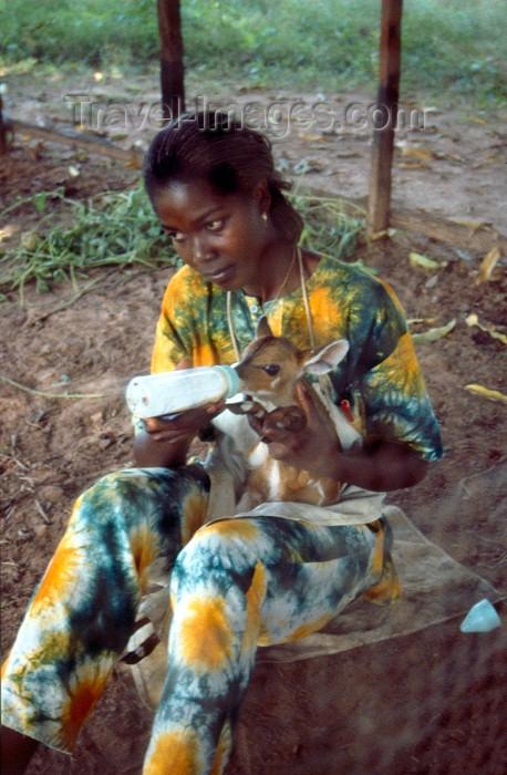 guinea-bissau10: Guinea Bissau / Guiné Bissau - Bula: rapariga a alimentar uma gazela bébé (foto de / photo by Dolores CM) - (c) Travel-Images.com - Stock Photography agency - Image Bank