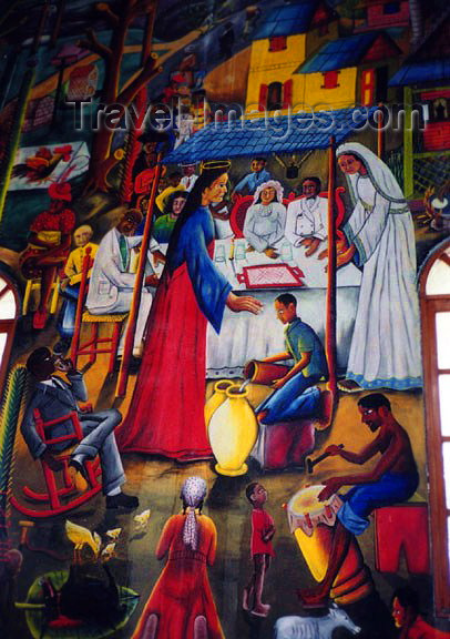 haiti24: Haiti - Port au Prince: mural showing a wedding ceremony at Cana - Anglican church - photo by G.Frysinger - (c) Travel-Images.com - Stock Photography agency - Image Bank