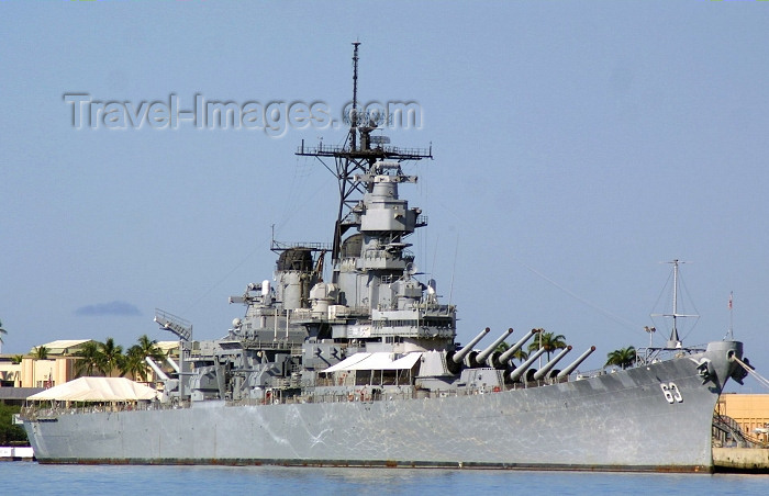 hawaii43: Oahu island - Pearl Harbor: USS Missouri WWII US navy battleship (photo by Rod Eime) - (c) Travel-Images.com - Stock Photography agency - Image Bank