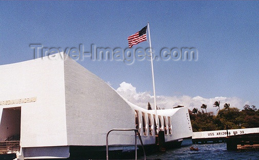 hawaii46: Oahu island - Pearl Harbor: USS Arizona Memorial - photo by G.Frysinger - (c) Travel-Images.com - Stock Photography agency - Image Bank