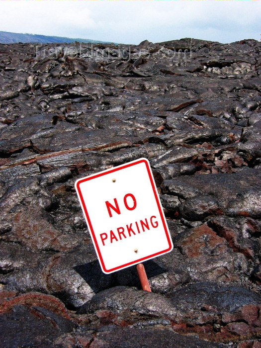 hawaii59: Hawaii island - Kilauea volcano: relic in thelava flow - no parking sign - Hawaii Volcanoes National Park - photo by R.Eime - (c) Travel-Images.com - Stock Photography agency - Image Bank