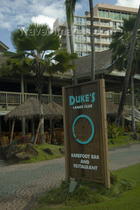 hawaii8: Hawaii - Kauai Island: Nawiliwili Beach: Duke'sCanoe Club restaurant - sign in foreground and Marriott resort hotel inbackground - Hawaiian Islands - photo by D.Smith - (c) Travel-Images.com - Stock Photography agency - Image Bank