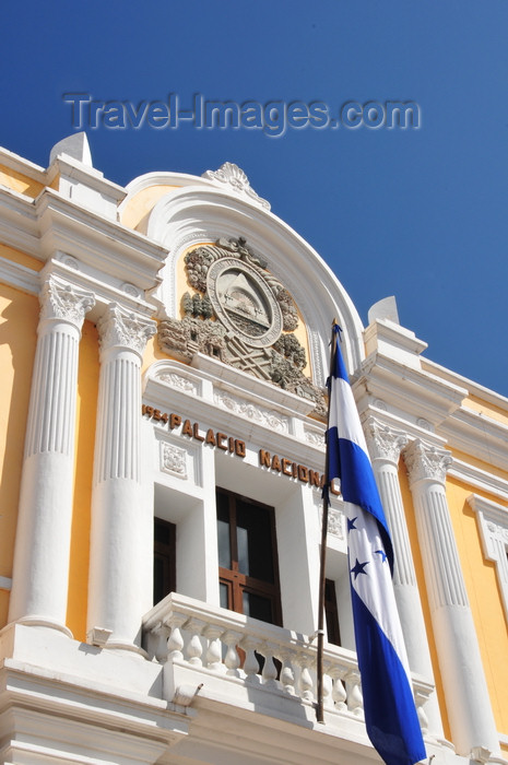 honduras81: Tegucigalpa, Honduras: flag and central balcony at the Museum of National Identity - Museo de Identidad Nacional - Av Miguel Paz Barahona - photo by M.Torres - (c) Travel-Images.com - Stock Photography agency - Image Bank