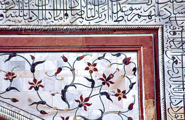 india162: India - Agra (Uttar Pradesh) / AGR : Agra: Taj Mahal - detail of the work in marble - Unesco world heritage (photo by Francisca Rigaud) - (c) Travel-Images.com - Stock Photography agency - Image Bank